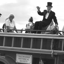 Don (Abe Lincoln) Resig on the 1947 Fire Truck